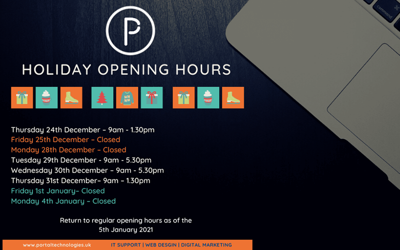 Portal Creative Christmas and New Year opening times